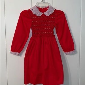 Vtg Polly Flinders red dress with smocked bodice